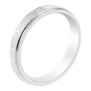 Frosted Silver Stainless Steel Ring/Band Size: 5